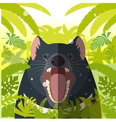 Tasmanian devil on the Jungle Background vector