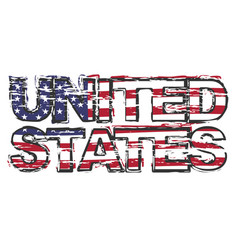 Text united states with american flag under it vector