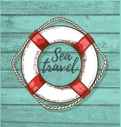 travel background with lifebuoy vector image