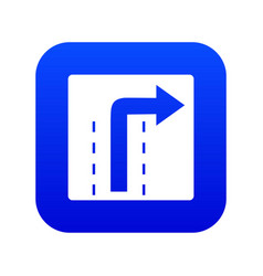 turn right traffic sign icon digital blue vector image
