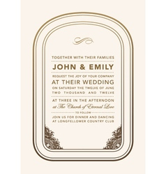 Vintage wedding invite vector
