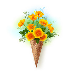 waffle cone with california poppy vector image