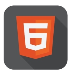 Web development shield sign - html6 vector