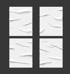 white glued wet paper posters wrinkled texture vector image