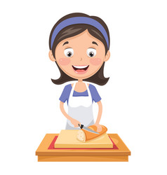 woman cutting bread vector image