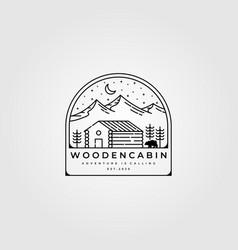 wooden cabin line art logo design outdoor vector image
