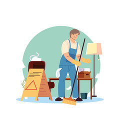 Young man working in cleaning service spaces vector