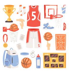 basketball sportswear and ball in net hoop vector image