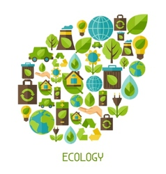 Ecology background with environment icons vector image vector image