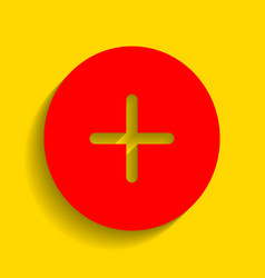 positive symbol plus sign red icon with vector image