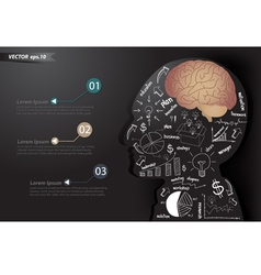 Business strategy plan make brain in man think vector