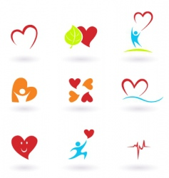 cardiology and people icons vector image vector image