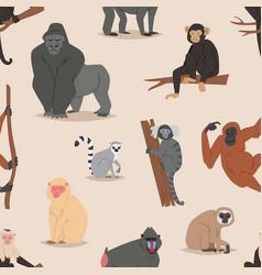 cartoon monkey character animal wild vector image vector image
