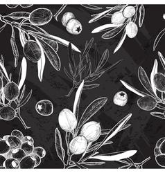 Chalkboard Seamless Olive Pattern vector image vector image