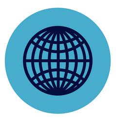 globe icon on round blue background vector image