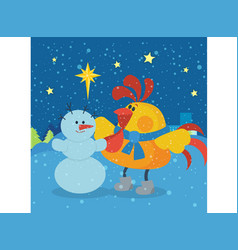 Rooster sculpts snowman at christmas eve night vector