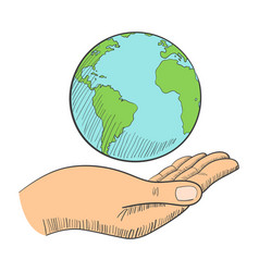 a hand holding globe vector image