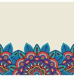 Doodle floral motifs and leaves border vector image