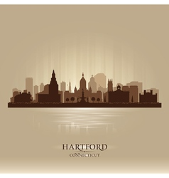 Hartford Connecticut city skyline silhouette vector image vector image