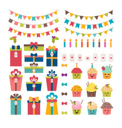 set of birthday party or christmas design vector image vector image