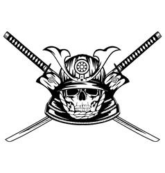 skull in samurai helmet and crossed katanas vector image vector image
