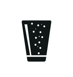 Soda in simple black vertical glass icon vector