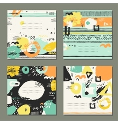 Trendy set of brush strokes cards vector image vector image