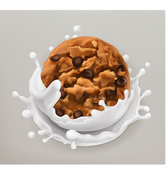 Chocolate cookies and milk splash Realistic 3d vector image vector image