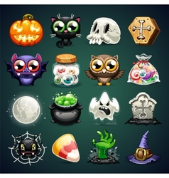 Halloween Cartoon Icons Set vector image vector image