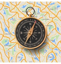 Old compass on map background vector image vector image