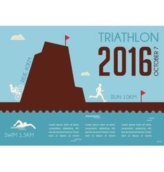 Retro triathlon competition poster Championship vector image