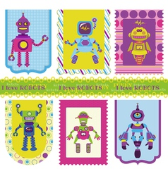 Set of Tags - Cute little Robots vector image vector image