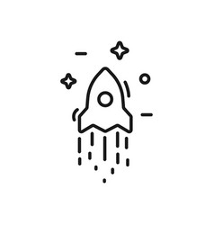 start up business outlined line icon rocket vector image vector image