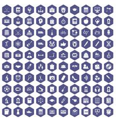 100 hi-school icons hexagon purple vector image