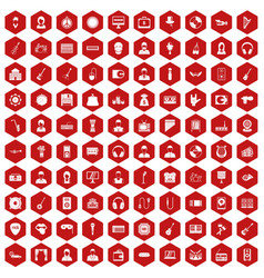 100 music icons hexagon red vector