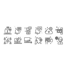 12 set linear work from home icons thin vector
