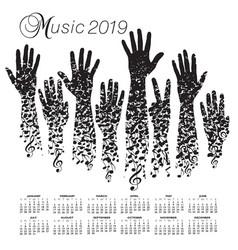 a creative 2019 musical calendar vector image
