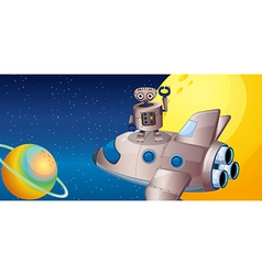 A robot above the spaceship in the outerspace vector image