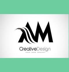 Am a m creative brush black letters design vector