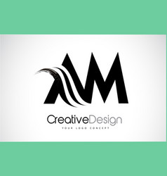 Am a m creative brush black letters design with vector