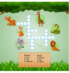 Animal crossword puzzles for kids games vector