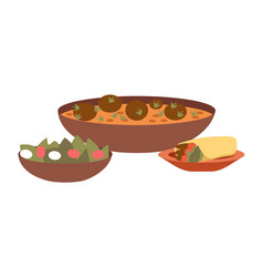 Arabic cuisine dishes kosher vector