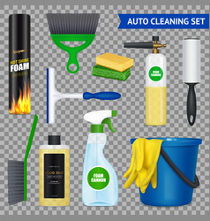 auto cleaning set transparent vector image