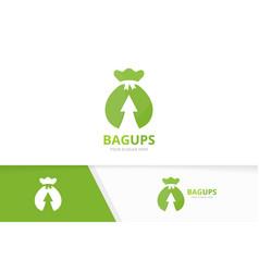 Bag and arrow up logo combination sack vector