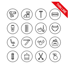 barber shop universal icons set thin vector image