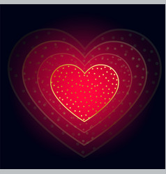 beautiful glowing red heart on dark background vector image