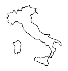 Black contour map of Italy vector image