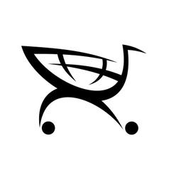 Black symbol of a shopping cart vector image