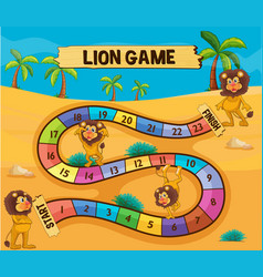 Boardgame template with lions in desert vector