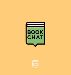book chat logo digital library emblem vector image